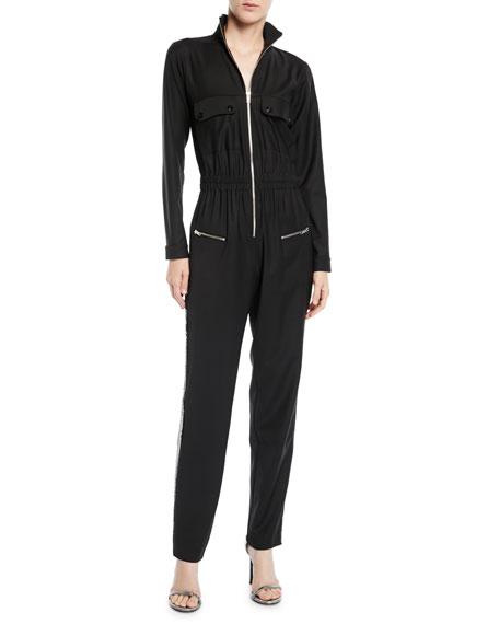 Carolina Ritzler Zip-Front Long-Sleeve Straight-Leg Jumpsuit w/ Sequin Tux Sides