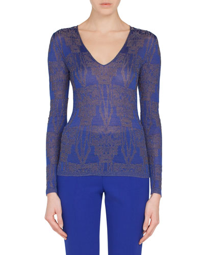 V-Neck Long-Sleeve Fruit of Vienna Jacquard Metallic-Knit Top