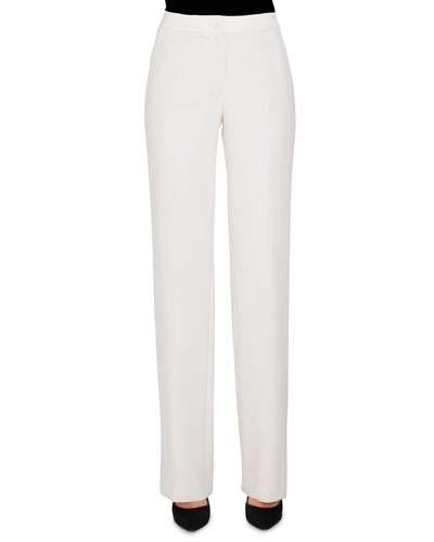 Carl Straight-Leg Pants w/ Elastic Waistband