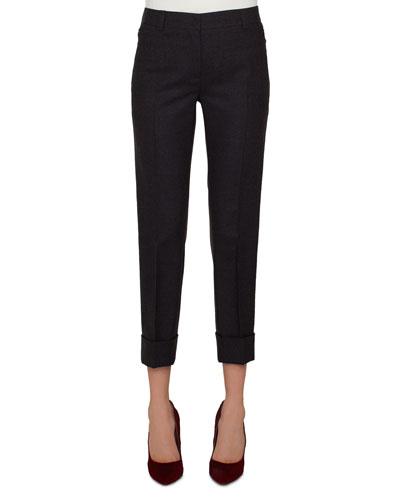 Maxima Conical-Leg Cropped Cuffed Pants