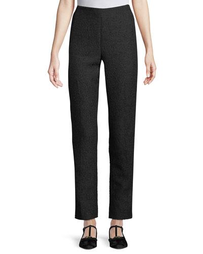 High-Waist Straight-Leg Tweed Pants