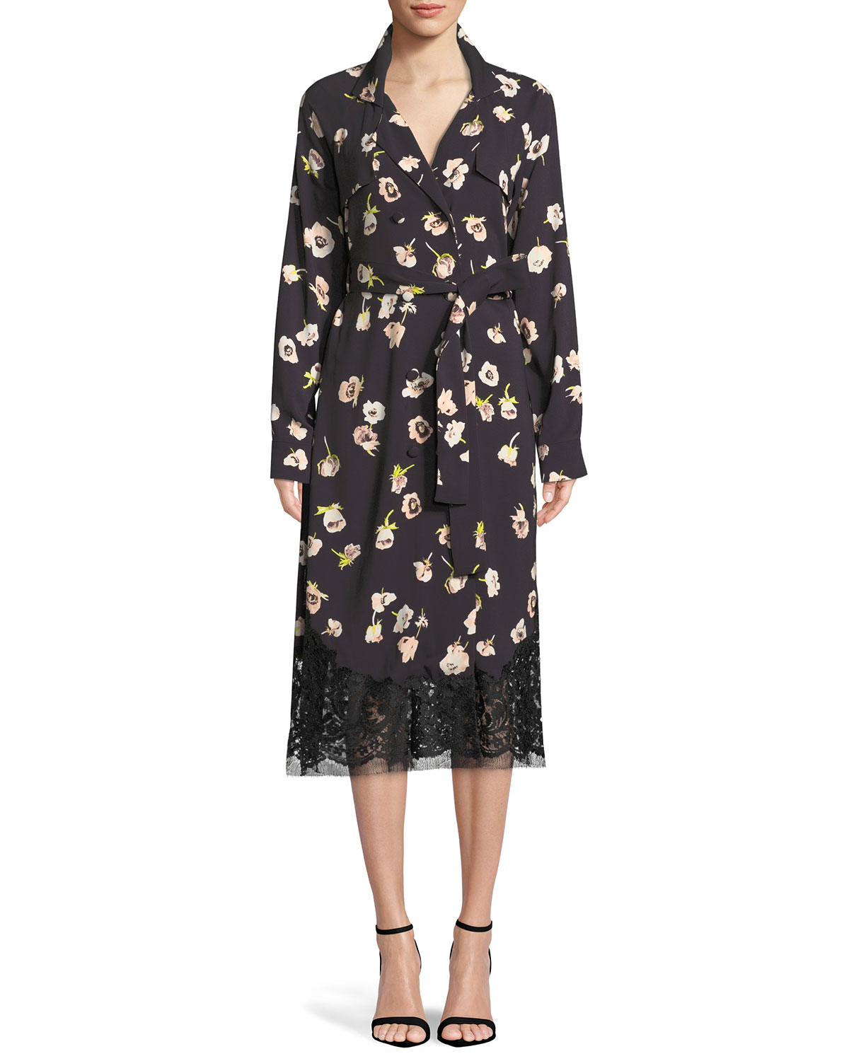 Double-Breasted Floral-Print Wrap Dress With Lace Hem in Black