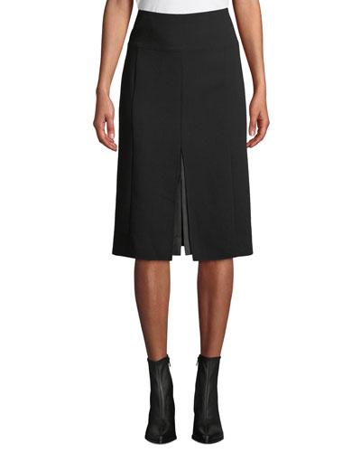 High-Waist A-Line Leather-Slit Wool Skirt
