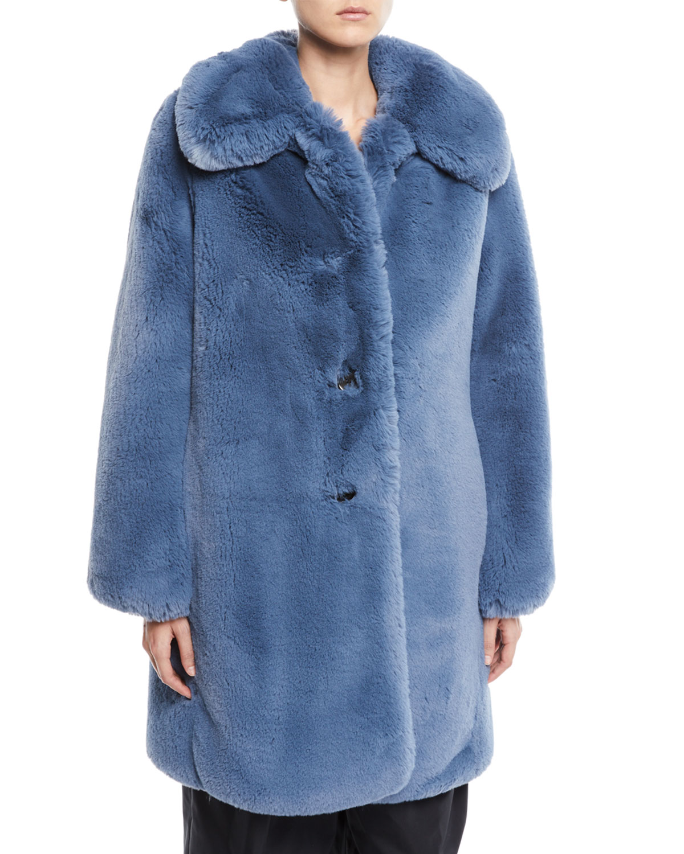 Chubby Plush Coat With Collar, Blue