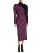 Marc Jacobs Mock-Neck Long-Sleeve Asymmetric Plaid Wool Midi