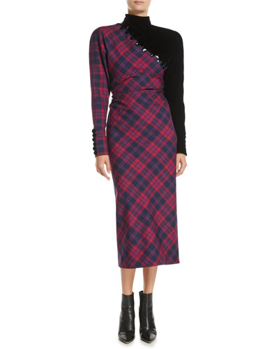 Mock-Neck Long-Sleeve Asymmetric Plaid Wool Midi Dress w/ Beading