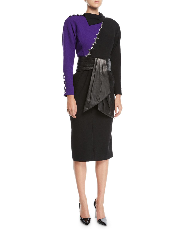 Long-Sleeve Crystal-Beading Colorblock Sheath Dress w/ Leather Cummerbund Belt