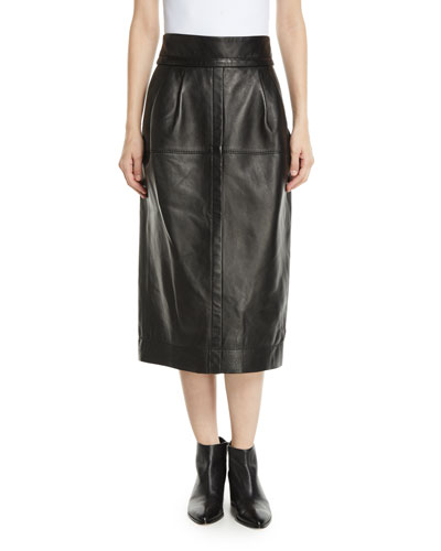 b0c7180cb Quick Look. Marc Jacobs · High-Waist A-Line Midi Lamb Leather Skirt