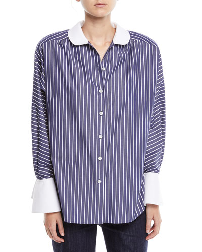 Peter Pan Collar Button-Front Striped Shirt w/ Shoulder Pads