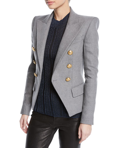 0bd21743b665 Quick Look. Balmain · Double-Breasted Wool-Cashmere Flannel Blazer