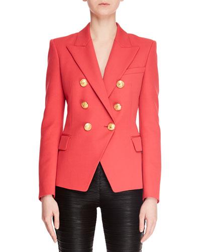 Classic Six-Button Grain de Poudre Blazer Jacket