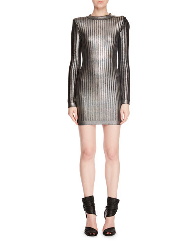 Long-Sleeve Mock-Neck Lacquered Vertical-Stripe Mini Cocktail Dress