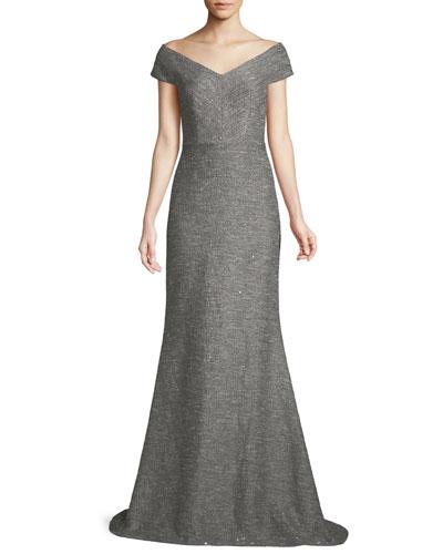 V-Neck A-Line Speckled Tweed Evening Gown
