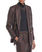 Brunello Cucinelli Double-Breasted Metallic Plaid Blazer Jacket