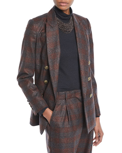 Double-Breasted Metallic Plaid Blazer Jacket w/ Brass Buttons