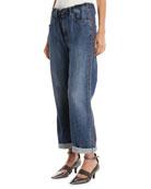 Brunello Cucinelli Boyfriend-Fit Drawstring Jeans with Monili