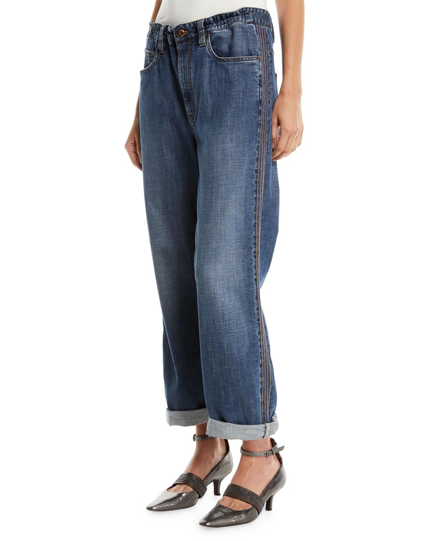 Boyfriend-Fit Drawstring Jeans with Monili Stripes