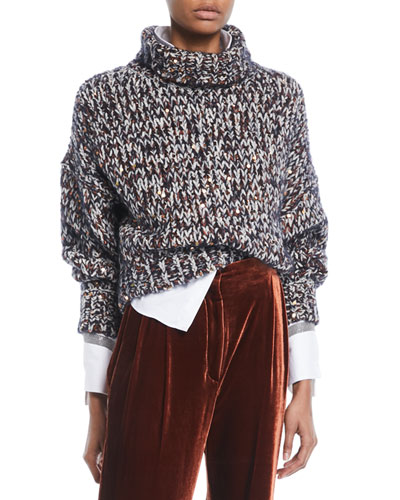 Turtleneck Long-Sleeve Velvet Effect Tweed Paillettes Mohair-Blend Sweater