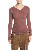 Brunello Cucinelli V-Neck Long-Sleeve Metallic Mohair Ribbed