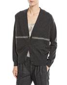 Brunello Cucinelli Cashmere Cardigan Sweater w/ Monili Stripe