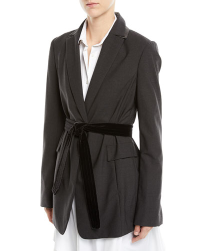 Long Lightweight Wool Blazer Jacket with Velvet Belt