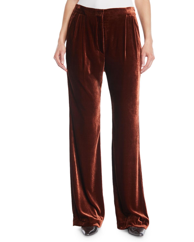 Straight-Leg Liquid Velvet Full-Length Pants