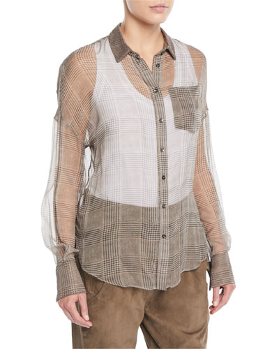 164de2cf651425 Quick Look. Brunello Cucinelli · Button-Front Plaid Silk Chiffon Blouse.  Available in Beige