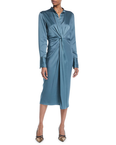 Long-Sleeve Twist-Front Satin Midi Dress