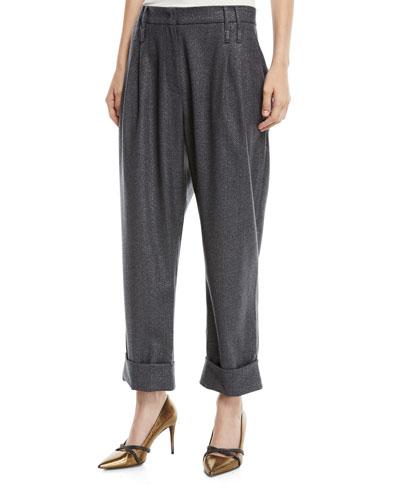 Wide-Leg Metallic Donnegal Pants w/ Pleats