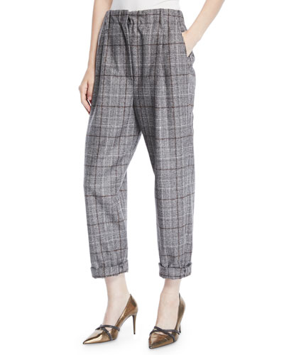 8fab45a610 Quick Look. Brunello Cucinelli · Plaid Wool Cropped Pants. Available in Gray