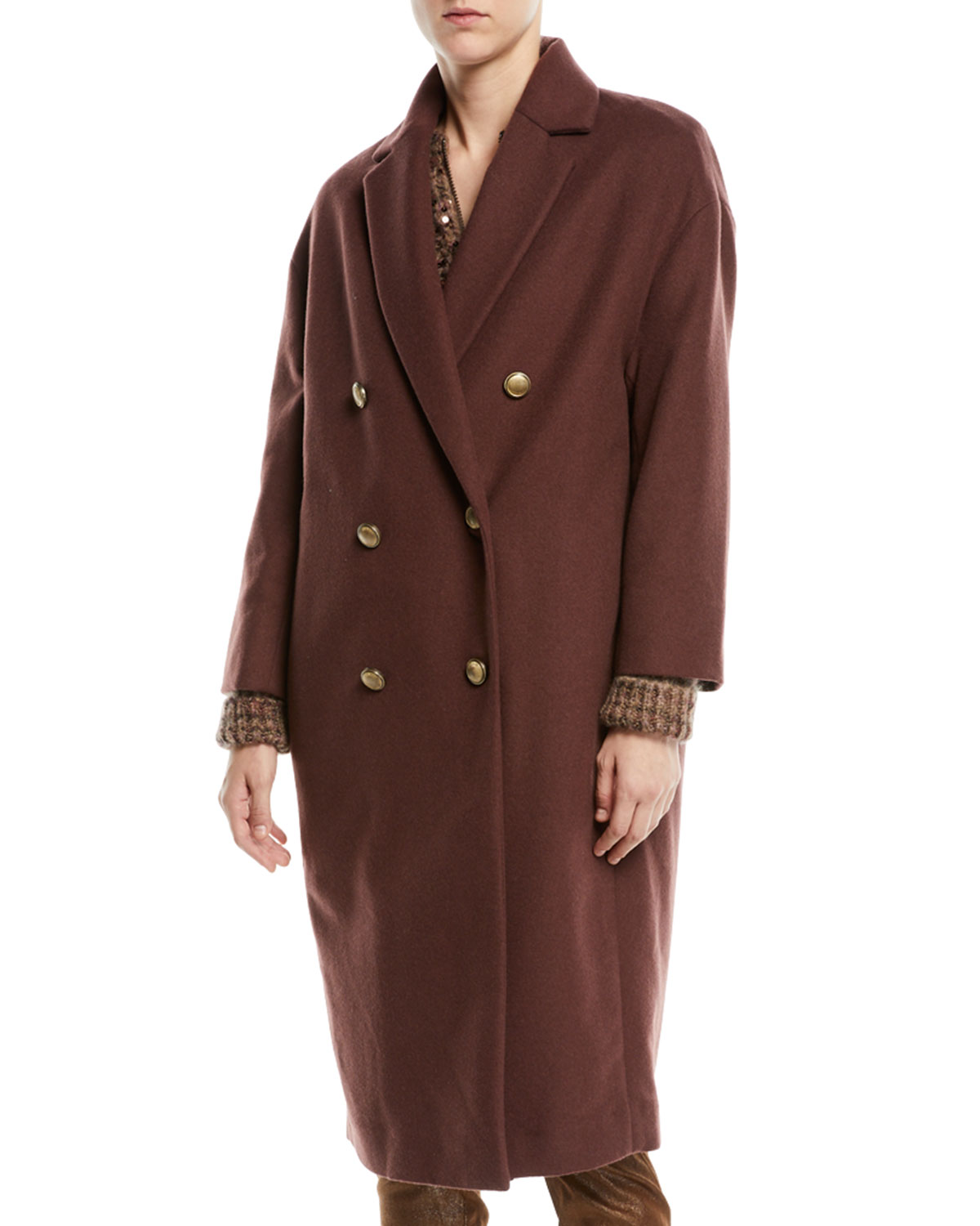 Double-Breasted Wool-Cashmere Coat w/ Brass Buttons