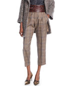 Brunello Cucinelli Plaid-Wool Straight-Leg Pants