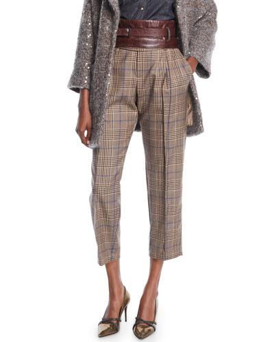 Plaid-Wool Straight-Leg Pants