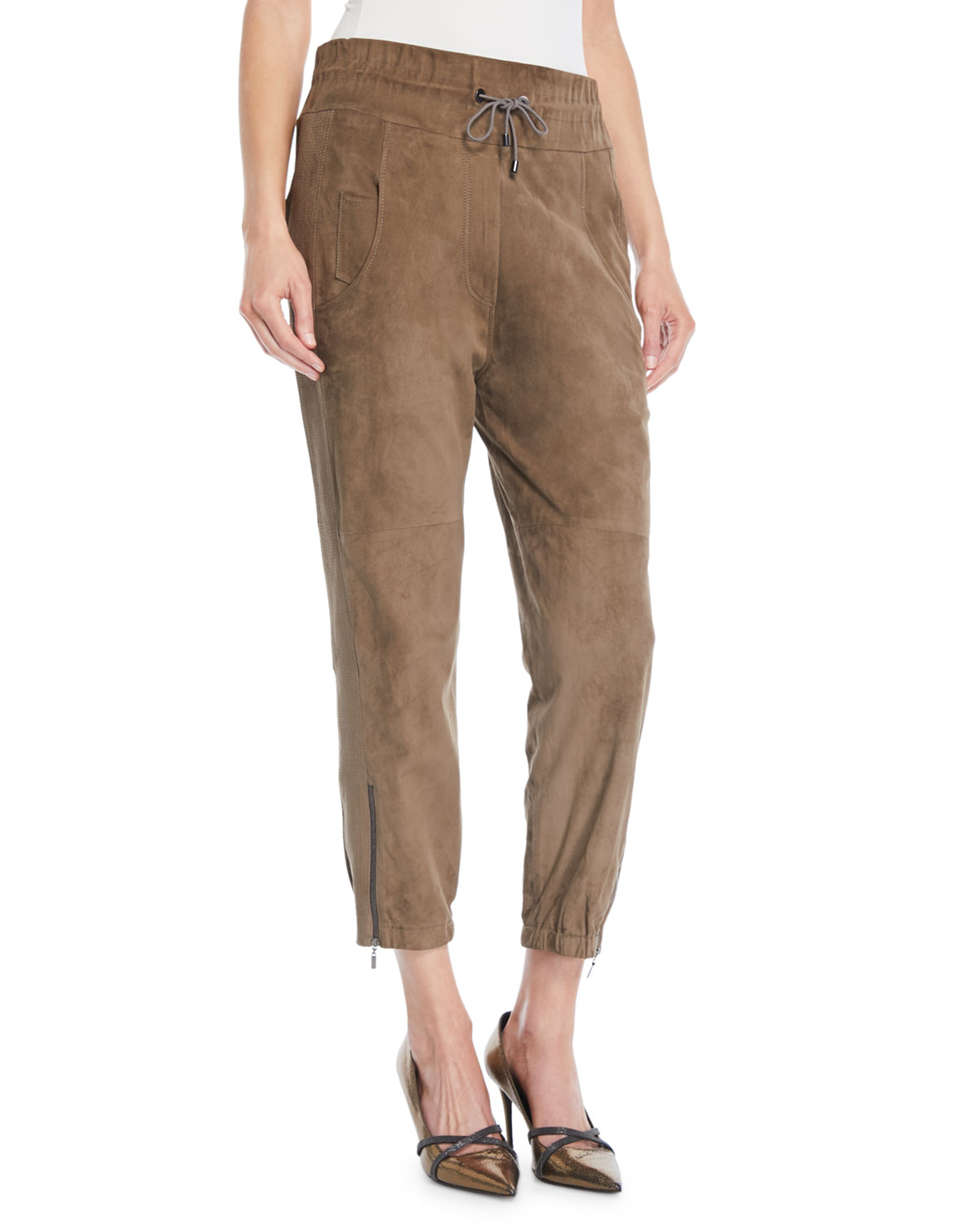 Drawstring Cropped Suede Joggers w/ Ankle Zips