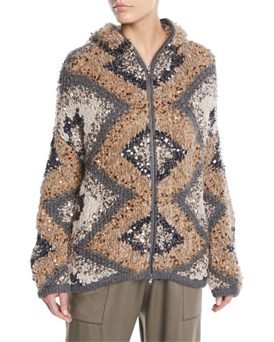Zip-Front Folklore Hand-Knit Intarsia Jacket w/ Macro Paillettes