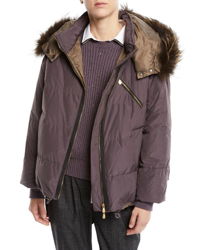 Removable-Fur-Collar Down Puffer Jacket w/ Monili Trim