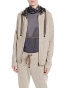 Brunello Cucinelli Zip-Front Felpa Cashmere-Cotton Jacket w/