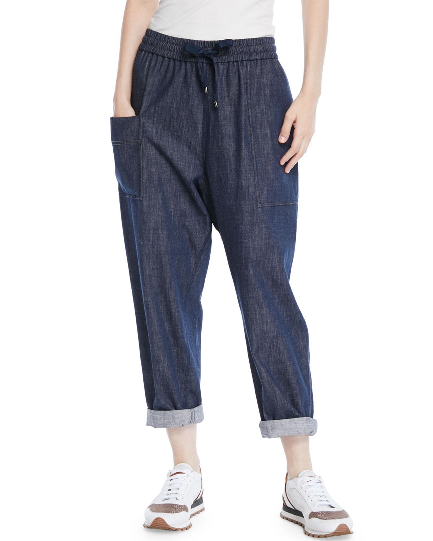 Drawstring Wide-Leg Pull-On Denim Pants w/ Monili Trimmed Pockets