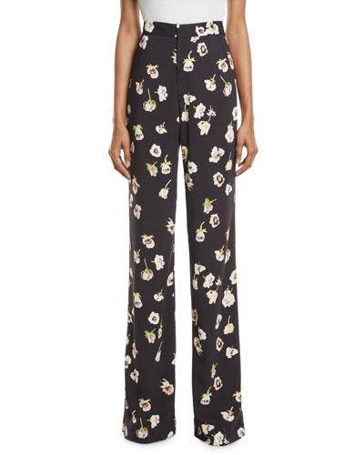 Maggie High-Waist Wide-Leg Floral-Print Pants