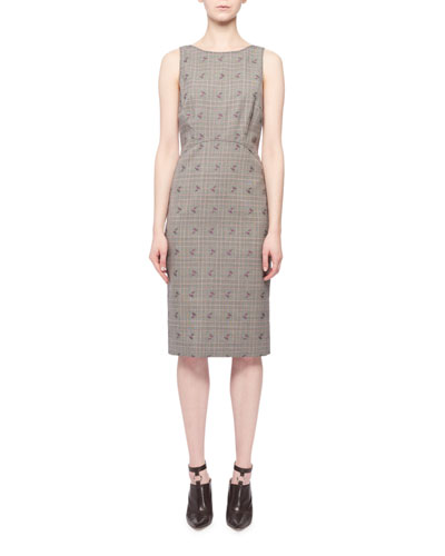 Sleeveless Floral-Embroidered Prince of Wales Sheath Dress
