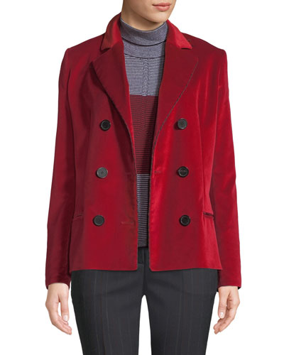 Notched-Collar Double-Breasted Velvet Jacket w/ Striped Cording