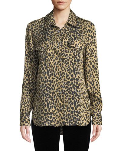 Long-Sleeve Button-Front Leopard Animal-Print Silk Shirt