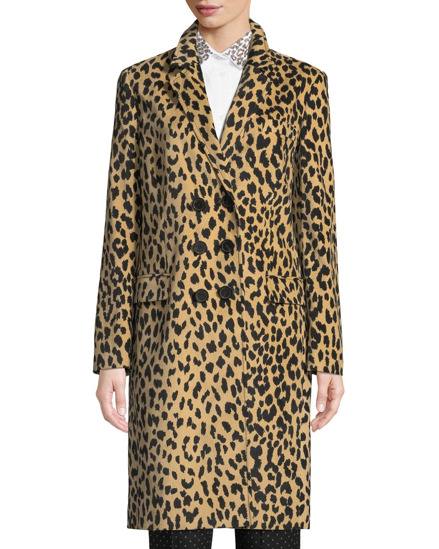 Double-Breasted Animal-Print Velveteen Topper Coat