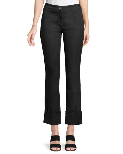 Mid-Rise Straight-Leg Cropped Jeans w/ Cuffs