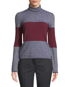 Piazza Sempione Colorblocked Striped Turtleneck Sweater