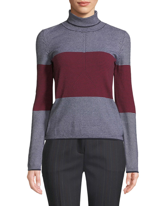 Colorblocked Striped Turtleneck Sweater