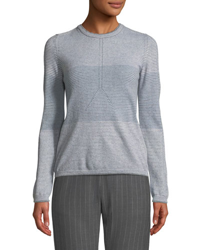 Crewneck Long-Sleeve Striped Wool-Cashmere Sweater