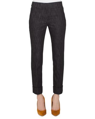 Straight-Leg Cropped Cuffed Denim Pants