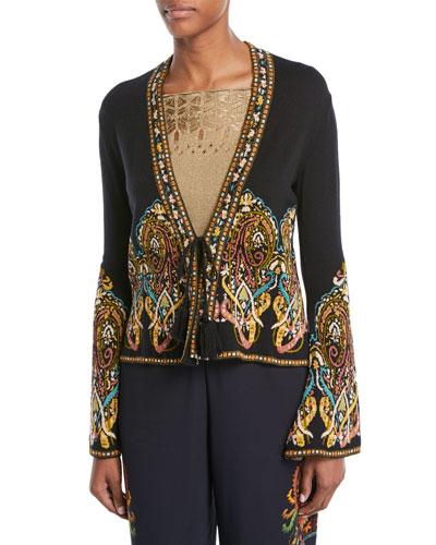 Tie-Front Paisley-Intarsia Short Knit Jacket
