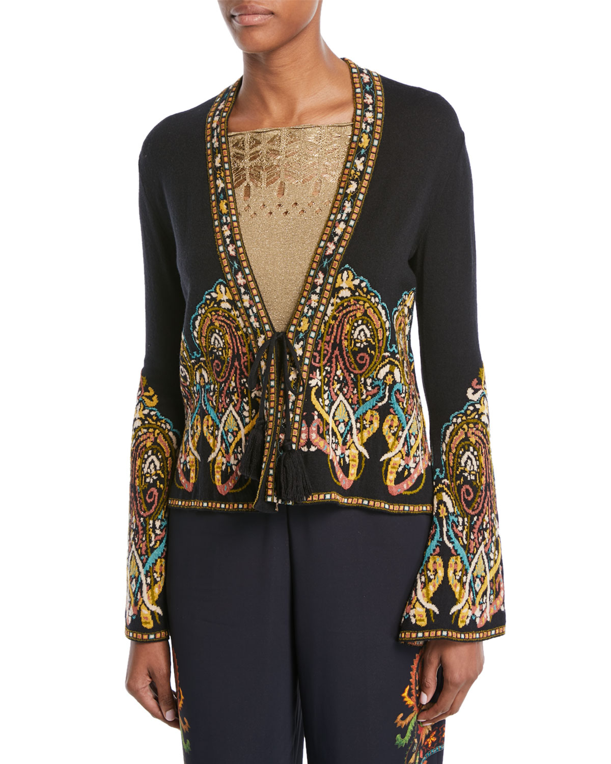 Tie-Front Paisley-Intarsia Short Knit Jacket, Black